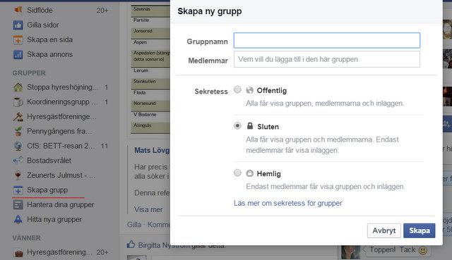 Skapa en grupp på Facebook